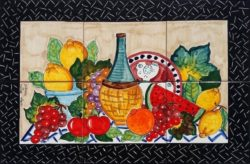Ceramic Backsplash Tile Murals Fruit and Wine of Italy Kitchen Backsplash