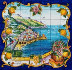 Artwork on Tile - Amalfi Coast Art Tile Backsplash Mural Landscape