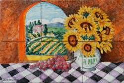 Backsplash Tile Murals Sunflowers and Tuscan Country Art Tile Ideas