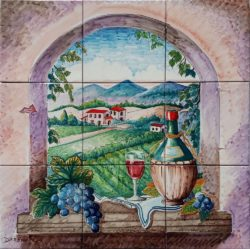 Landscape Tile Country Window and Tuscan Wine Backsplash Ideas