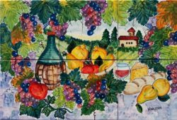 Still Life of Italian Country Custom Hand Painted Backsplash