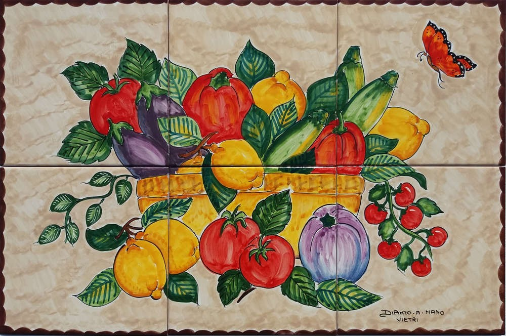 Fruits and Veggies Hand painted Backsplash Tile for Kitchen