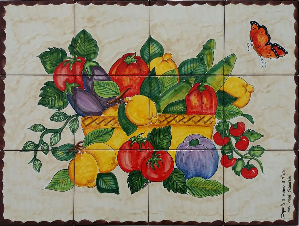 Backsplash Tile Murals - Lemon Veggies and Butterfly Custom Tile