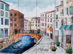 Venice Landscape Tile Art - Romantic Venetian Bridge Backsplash Tile