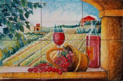 Chianti Wine and Tuscan Country Landscape Backsplash Tile Ideas