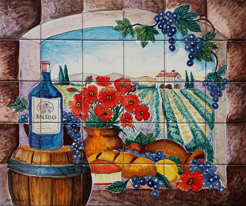 Tuscan Landscape Wine and Poppies Mosaic Tile Art Ceramic