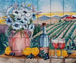 Traditional Tuscan Landscape and Flowerpot Mosaic Art Tile Backsplash