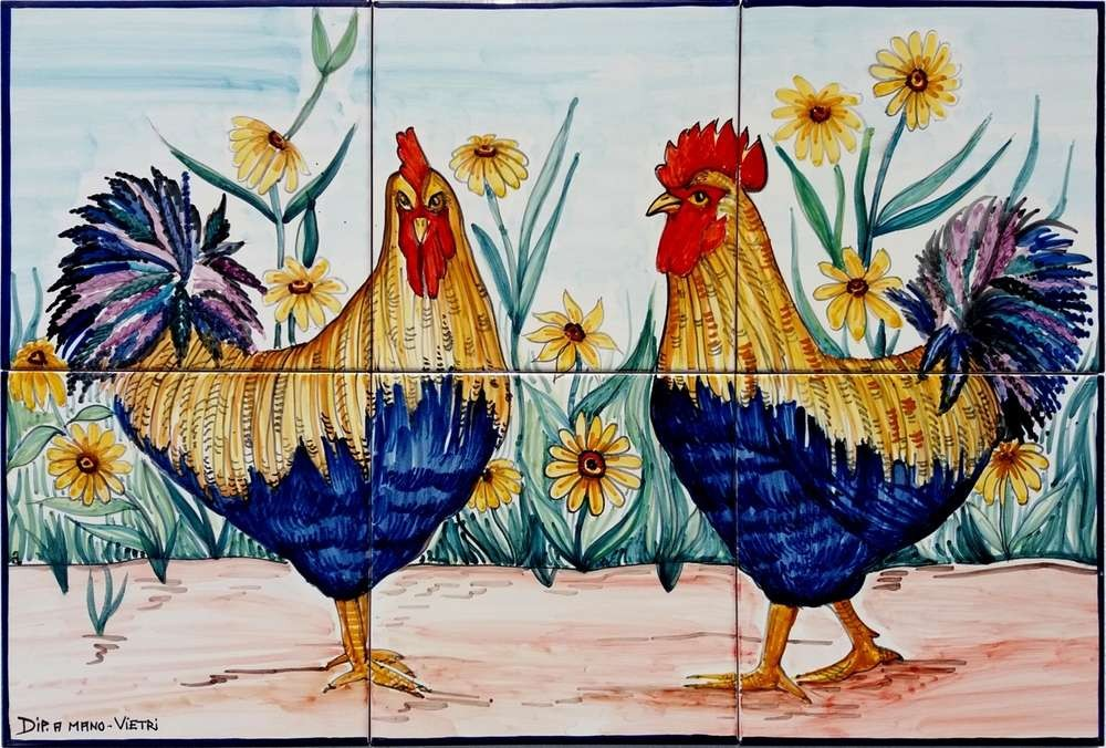 Roosters Hand Painted Kitchen Backsplash