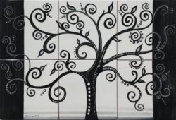 Black Tree Luxury Art Backsplash Tile Ceramic Panel
