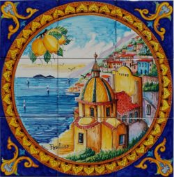 Backsplash Tile Barocco View of Positano in Italy Landscape Tile Art