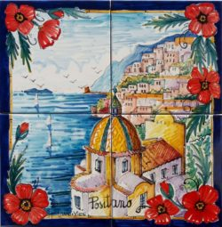 Artwork on Tile View of Positano Landscape