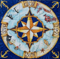 Backsplash Tile Wind Rose Pirates Decorative Hand Painted Nautical Art