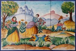 Country Life Scene 1 Decorative Tile Landscape