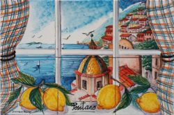 Positano Window and Lemons Backsplash Kitchen Art