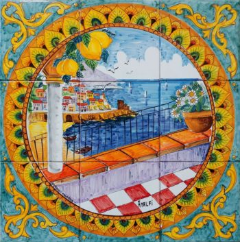 Backsplash Tile Barocco View of Amalfi in Italy Landscape Tile Art