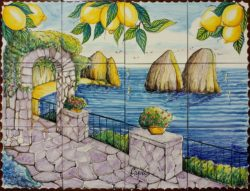 Artwork on Tile - Capri Summer Landscape Ceramic Tile Murals