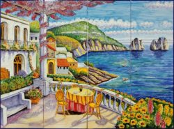 Landscape Tile Art - Capri Terrace Ceramic Tile Murals