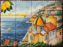 Landscape Tile Beautiful Positano Ceramic Artwork on Tile Murals
