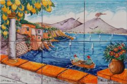 Napoli Marechiaro in Italy Landscape Tile Art Backsplash for Kitchen