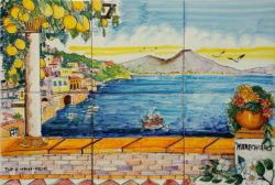 Landscape Tile Backsplash Marechiaro and Vesuvius Volcano
