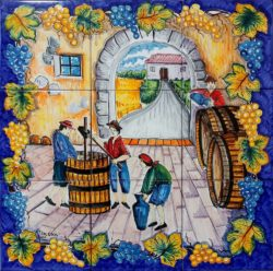 Backsplash Tile Grape Harvest in Italy Landscape Art Tile Mural