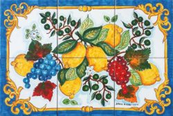 Blue Barocco Summer Fruits Backsplash Tile Art