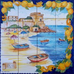 Artwork on Tile - Amalfi Coast Erchie Beach Backsplash Tile Murals