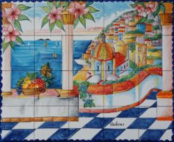 Artwork on Tile - Summer in Positano Landscape Ceramic Tile Murals
