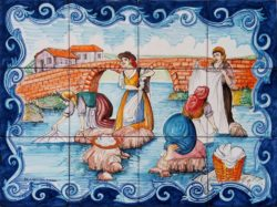 Backsplash Tile - Washerwomen Old Landscape Tile Murals