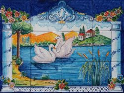 Swans on the Lake Old Style Backsplash for Kitchen - Ceramic Tile Panels