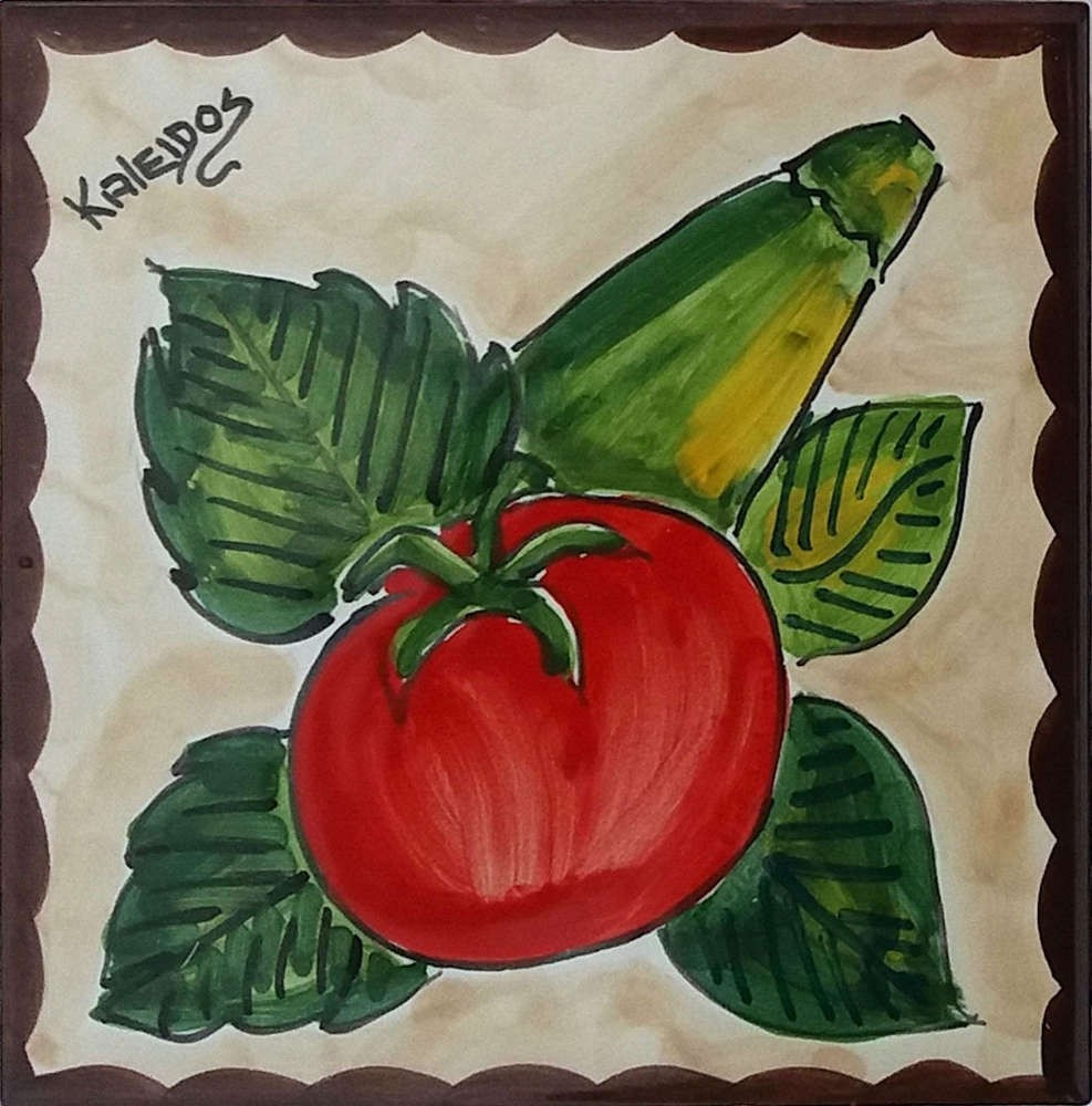 Accent Tile Tomato and Summer Squash Custom Tile Art