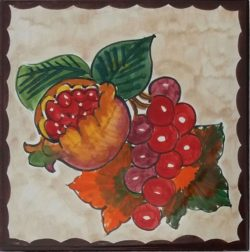 Decorative Tile Art Wine Grape and Pomegranate Accent Tile