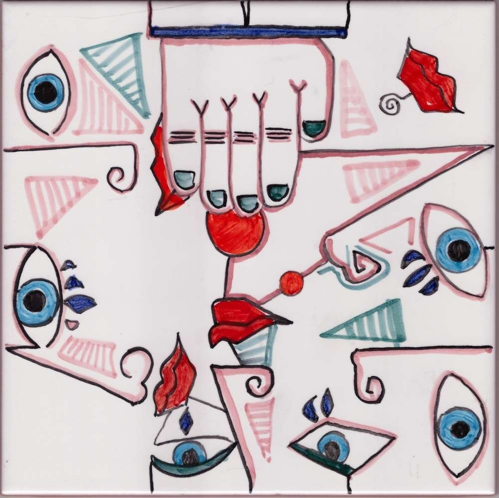 Picasso Style 4 Mural Accent Tile - Luxury Tile Art Ceramic