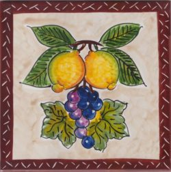 Italian Wine Grape and Lemon Accent Tiles - Tile Art Ceramic