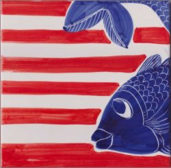 Accent Tile Fish and Stripes Custom Tile Art Ceramic