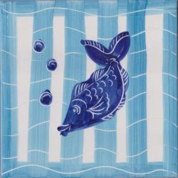 Tile Art Ceramic Fish and Stripes 2 Custom Accent Tile