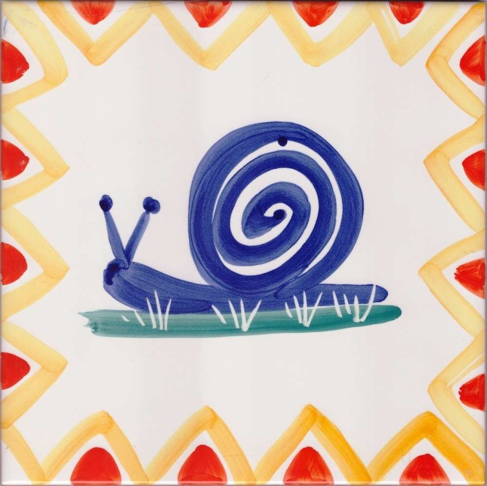 Accent Tile Snail Hand Painted Ceramic Tile Snail Hand Painted Ceramic Tile