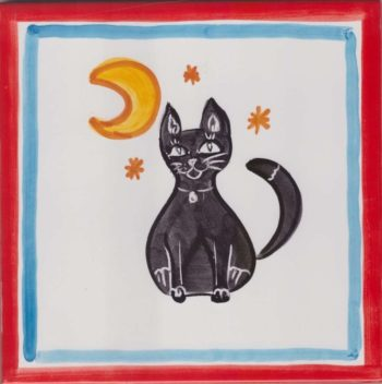 Picasso Cat and Moon Hand Painted Ceramic Tiles - Accent Tile