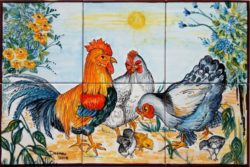 Backsplash Tile Murals Rooster and Chickens Hand Painted Kitchen Ideas