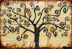 Gold Tree of Life Backsplash Tile Art - Luxury Tile Art Ceramic