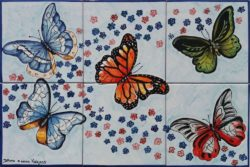 Butterflies Tile Art Ceramic - Kitchen Backsplash Tile Panel