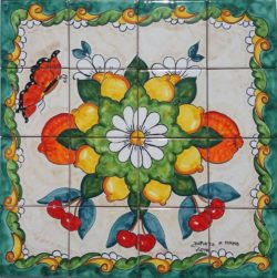 Country Flowers and Fruits Hand Painted Backsplash - Custom Tile Murals