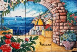 Landscape Tile Art Positano Italy Luxury Backsplash for Kitchen
