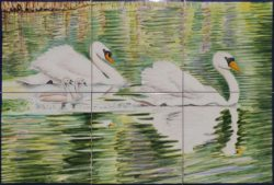 Swans on the Lake Kitchen Backsplash Tile - Ceramic Tile Panels
