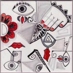 Picasso Style 2 Mural Accent Tile - Luxury Tile Art Ceramic