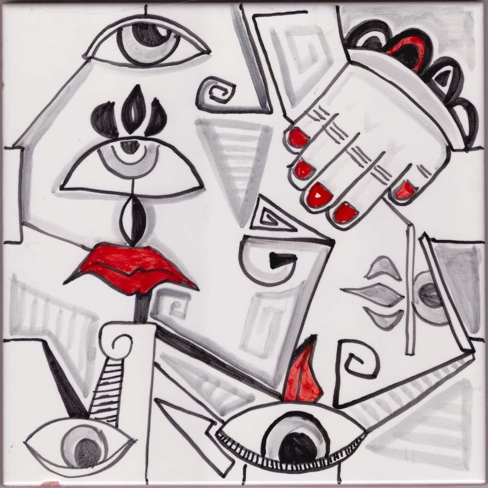 Picasso Style 3 Mural Accent Tile - Luxury Tile Art Ceramic