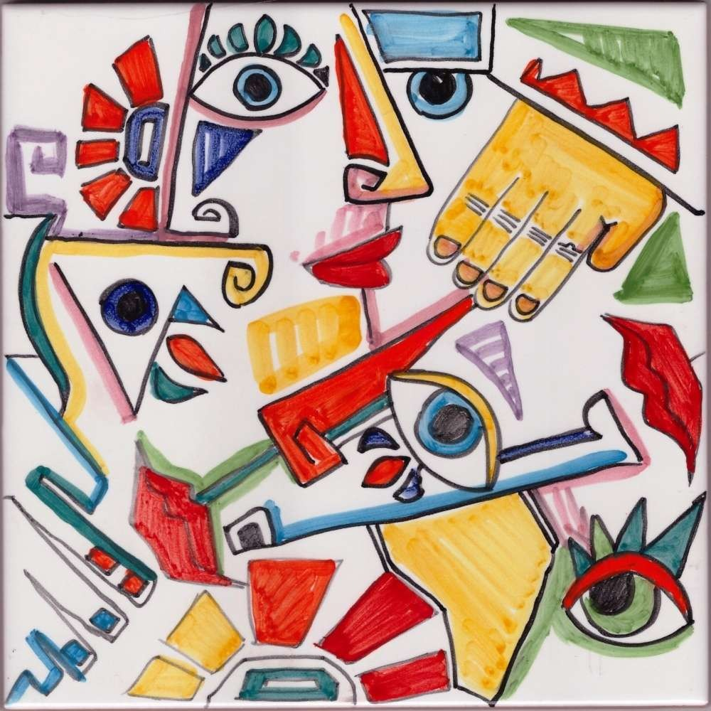 Picasso Style 6 Mural Accent Tile - Luxury Tile Art Ceramic