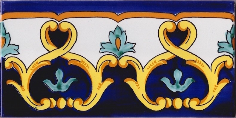 Border Tile Amalfi 8 Abstract Hand Painted Ceramic Tiles